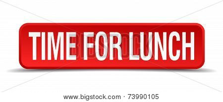Time For Lunch Red 3D Square Button Isolated On White