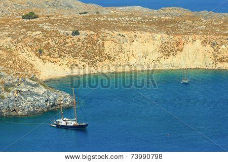 Blue bay of Lindos, Rhodes - Greece.