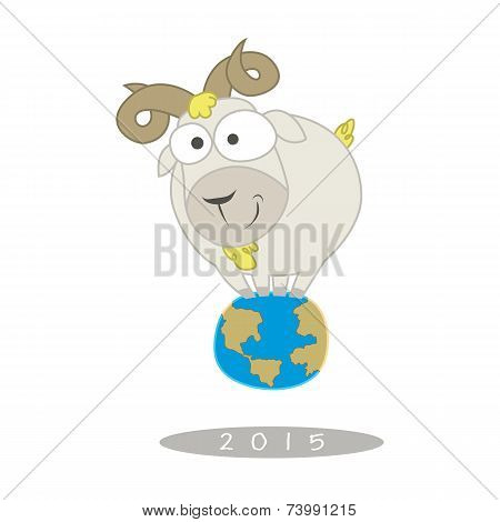 Illustration Of Funny Goat Stand On Earth