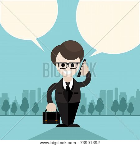 Happy businessman holding phone near head and talking