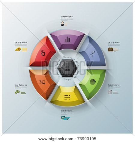 Modern Rotate Circle Propeller Three Dimension Polygon Business Infographic