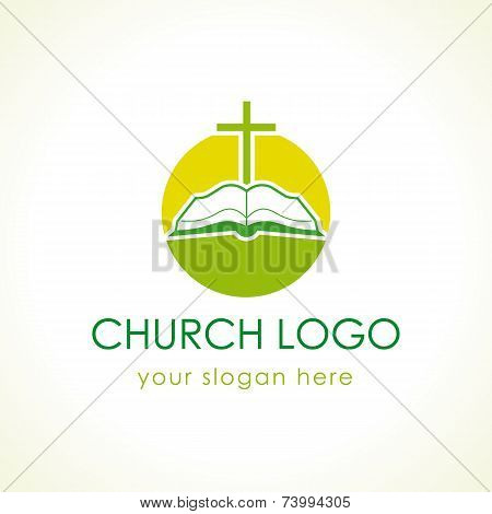 Cross on the bible church logo green