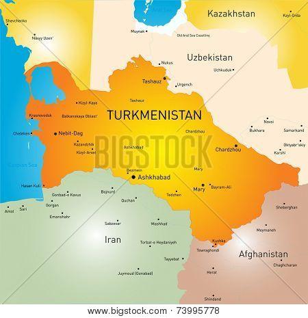 Vector color map of Turkmenistan