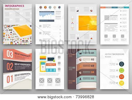 Set of Flyer, Brochure Design Templates. Geometric Triangular Abstract Modern Backgrounds. Mobile Technologies, Applications and Online Services Infographic Concept.