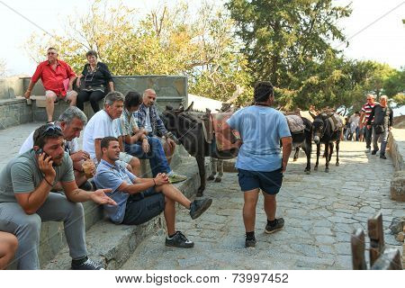 Donkey ride at Lindos village