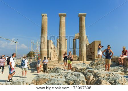 Tourists at the Acropolis of Lindos