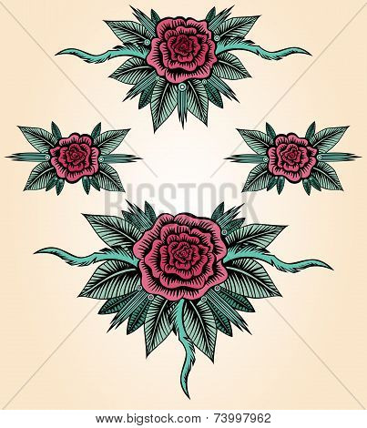 Collection Roses Tattoo Style
