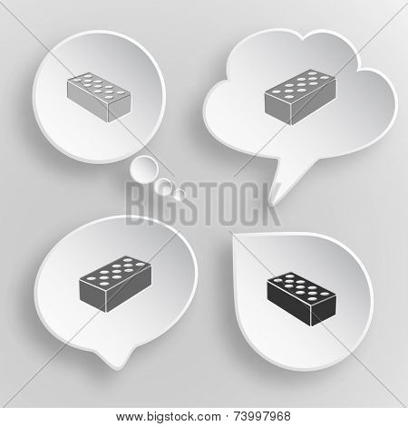 Hollow brick. White flat raster buttons on gray background.