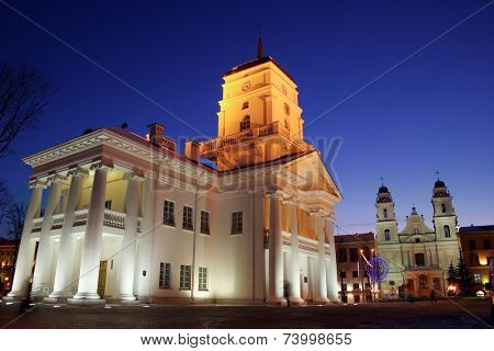 City hall in Minsk at evening