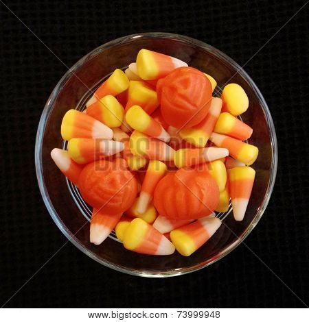 Instagram filtered image of halloween candy corn in a bowl