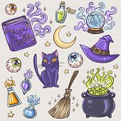 picture of witch ball  - Halloween witches attributes colorful doodles set - JPG