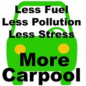 stock photo of frazzled  - green vehicle on white background carpool poster illustration - JPG