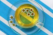 foto of chamomile  - Cup of chamomile tea with fresh chamomile flowers - JPG