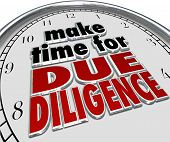 image of financial audit  - Make the Time for Due Diligence 3d words on a clock face to illustrate business obligation and financial budget audit for accounting compliance - JPG
