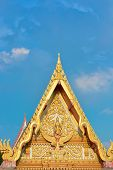 pic of apex  - Gable Apex Thai Temple With Blue Sky - JPG