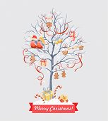 stock photo of blue-bell  - Greeting card with Christmas tree - JPG