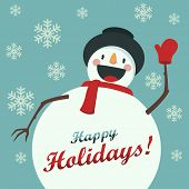 Happy Snowman greets you. Christmas background with snowflakes. Card for the New Year or Christmas poster