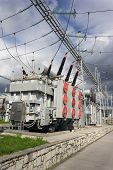 image of substation  - Electric power transformers in high voltage substation - JPG