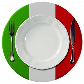stock photo of italian flag  - Concept of Italian cuisine with white plate and under plate colored with the colors of Italian flag and silver cutlery isolated on white background - JPG