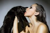 picture of tongue licking  - Beautiful Sexy Young Woman with Glamour make - JPG