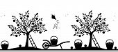 pic of hand-barrow  - vector seamless border with apple trees - JPG