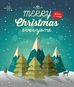 picture of christmas greetings  - Snowy Christmas night scene with Christmas tree - JPG