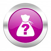 pic of riddles  - riddle violet circle chrome web icon isolated  - JPG
