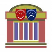 stock photo of comedy  - Drama theater with comedy and tragedy theatrical masks - JPG