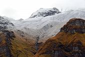 picture of avalanche  - Annapurna Base Camp part of Annapurna Circuit trekking route is often covered by avalanches - JPG