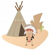 pic of tipi  - funny indian chief - JPG