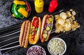 stock photo of wiener dog  - All beef dogs variantion of hot dogs onions beef garlic chips paprika chilli mustard ketchup - JPG