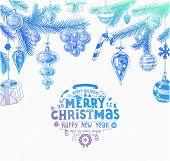 foto of mistletoe  - Christmas hand drawn fur tree for Xmas design - JPG