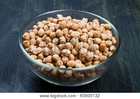 Chickpeas On Glass Bowl