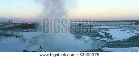 Sunset Over Frozen Niagara Falls