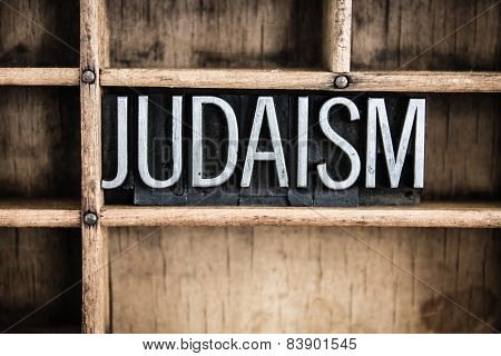 Judaism Concept Metal Letterpress Word In Drawer