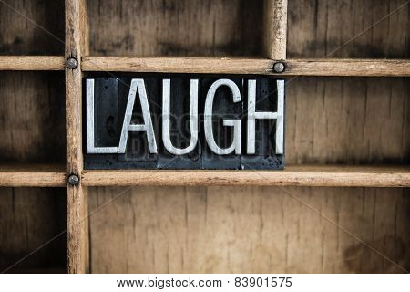 Laugh Concept Metal Letterpress Word In Drawer