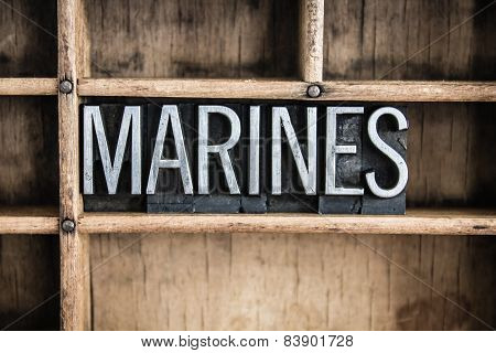 Marines Concept Metal Letterpress Word In Drawer