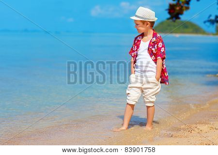 Cute Stylish Boy Walking The Tropical Beach