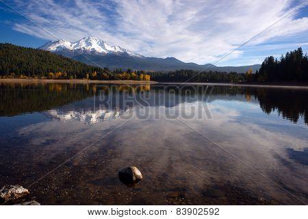Mt Shasta Reflection Mountain Lake Modest Bridge California Recreation Landscape