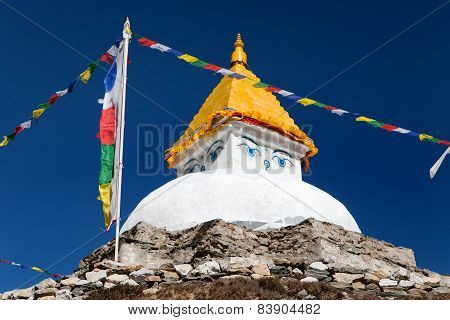 Stupa Near Dingboche Village With Prayer Flags
