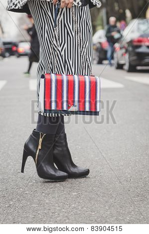 Detail Of Bag And Shoes Outside Armani Fashion Show Building For Milan Women's Fashion Week 2015
