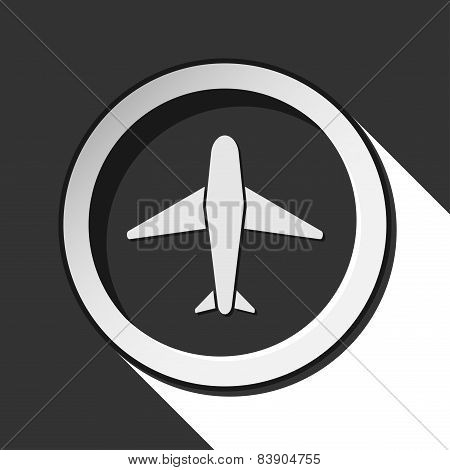Vector Grey Button With Airplane