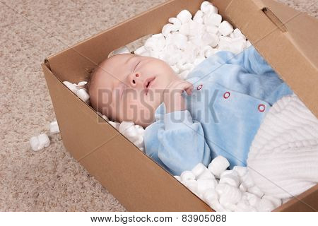 Newborn baby in open post box