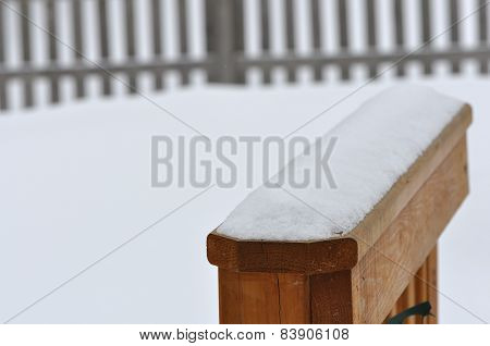 Snow Covered Railing