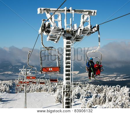 Chair Lift On Mount Serak For Downhill Skiers