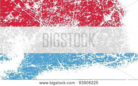 Flag Of Luxembourg With Old Texture. Vector