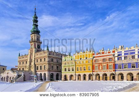 The Main Market Square In The Old Town Of Zamosc. It Is On The Unesco World Heritage List