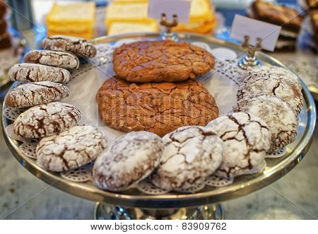 Different Types Of Hand-made Chocolate Bisquits On The Tray