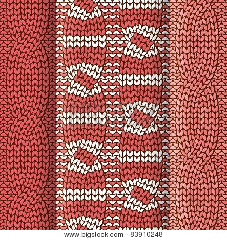 Double cabled knitted pattern red and white