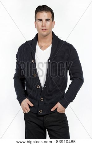 Athletic Male in Sweater on White